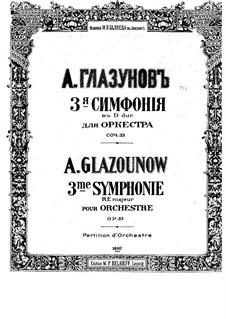 Симфония No.3 ре мажор, Op.33: Партитура by Александр Глазунов