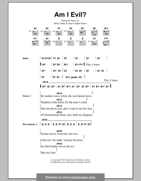 Am I Evil? (Metallica): Текст, аккорды by Brian Tatler, Sean Lindon Harris