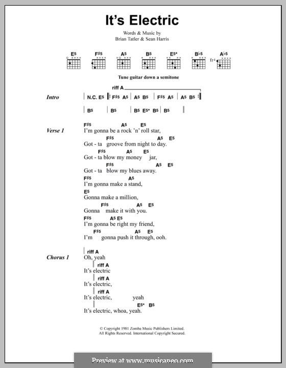It's Electric (Metallica): Текст, аккорды by Brian Tatler, Sean Lindon Harris