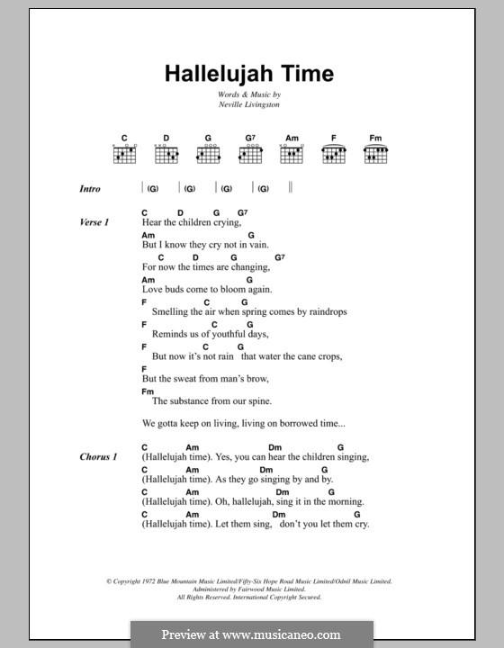 Hallelujah Time (Bob Marley): Текст, аккорды by Neville Livingston