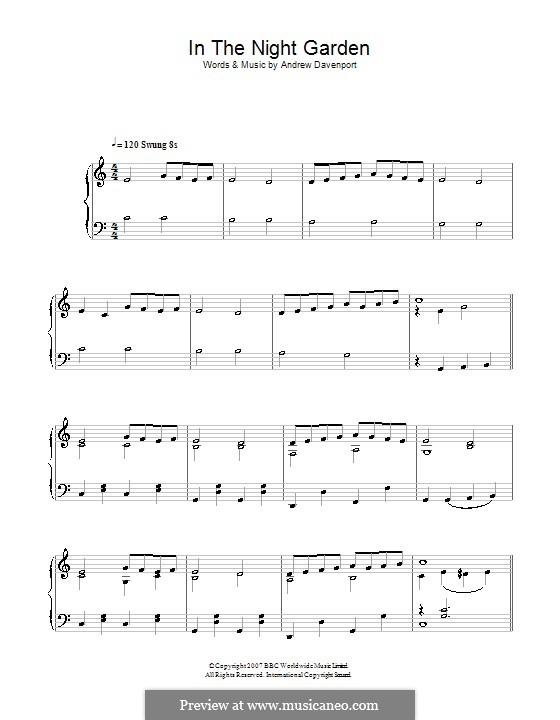 In the Night Garden: Для фортепиано (легкий уровень) by Andrew Davenport