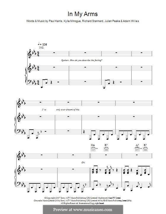 In My Arms (Kylie Minogue): Для голоса и фортепиано (или гитары) by Adam Wiles, Julian Peake, Paul Harris, Richard Stannard