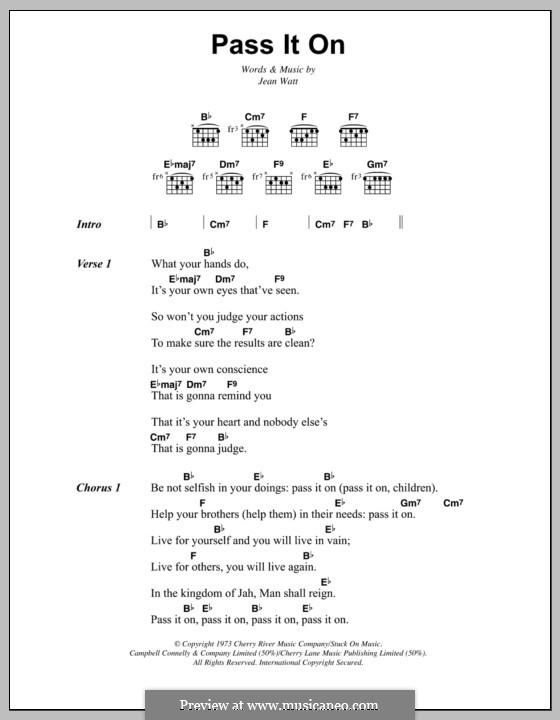 Pass It on (Bob Marley): Текст и аккорды by Jean Watt