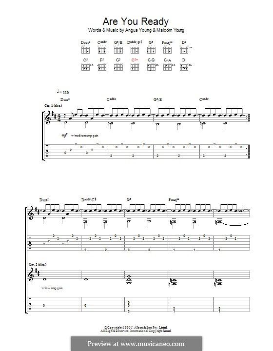 Are You Ready (AC/DC): Гитарная табулатура by Angus Young, Malcolm Young