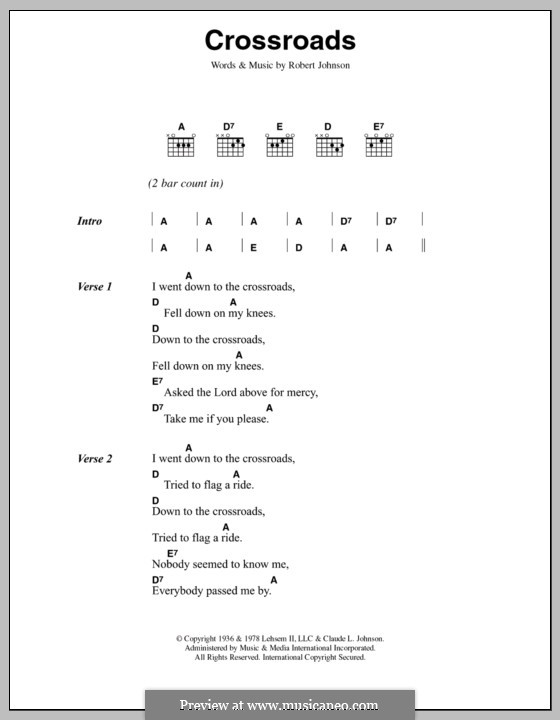 Cross Road Blues (Crossroads): Текст и аккорды by Robert Leroy Johnson
