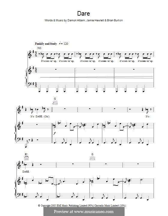 Dare (Gorillaz): Для голоса и фортепиано (или гитары) by Brian Burton, Damon Albarn, Jamie Hewlett
