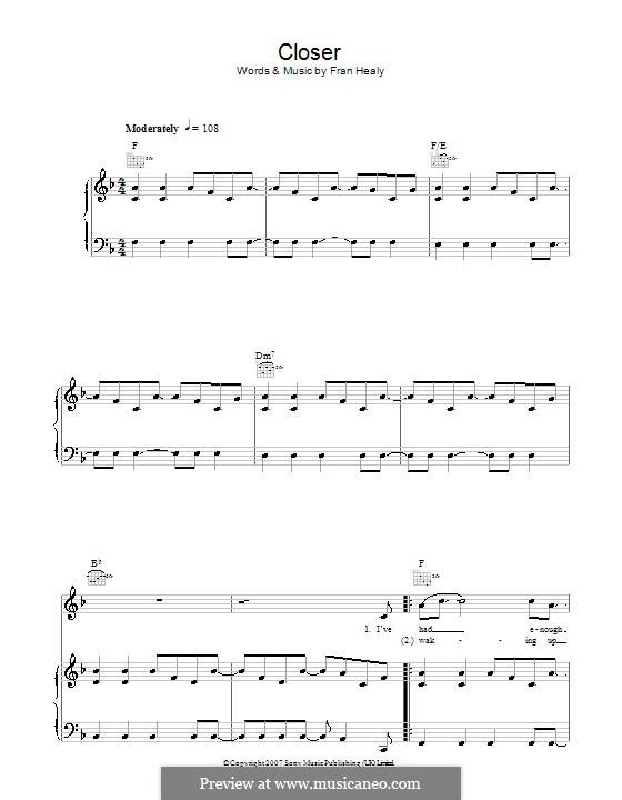 Closer (Travis): Для голоса и фортепиано (или гитары) by Fran Healy