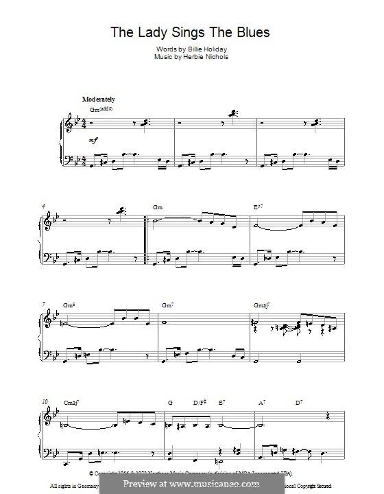 The Lady Sings the Blues (Billie Holiday): Для фортепиано by Herbie Nichols