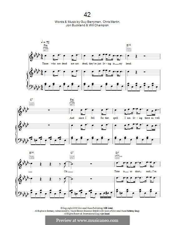 42 (Coldplay): Для голоса и фортепиано или гитары by Chris Martin, Guy Berryman, Jonny Buckland, Will Champion