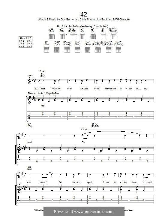 42 (Coldplay): Гитарная табулатура by Chris Martin, Guy Berryman, Jonny Buckland, Will Champion