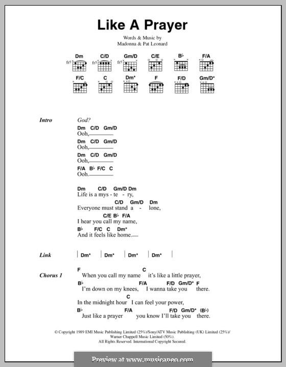 Like a Prayer: Текст, аккорды by Madonna, Patrick Leonard