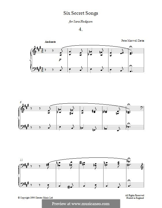 Six Secret Songs for Piano: No.4 by Peter Maxwell Davies