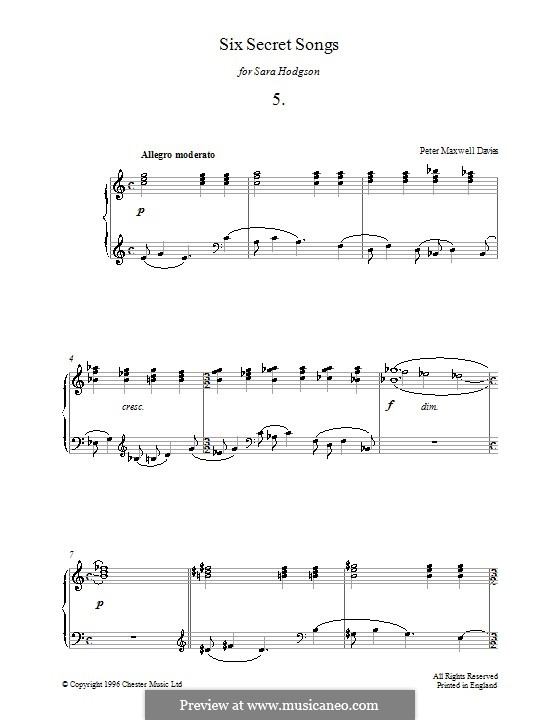 Six Secret Songs for Piano: No.5 by Peter Maxwell Davies