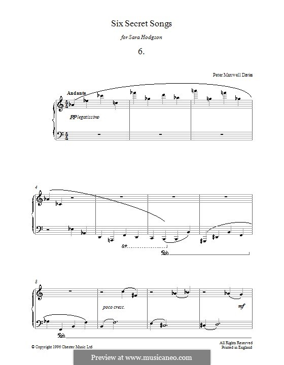 Six Secret Songs for Piano: No.6 by Peter Maxwell Davies