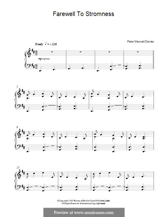 Farewell to Stromness: Для фортепиано by Peter Maxwell Davies