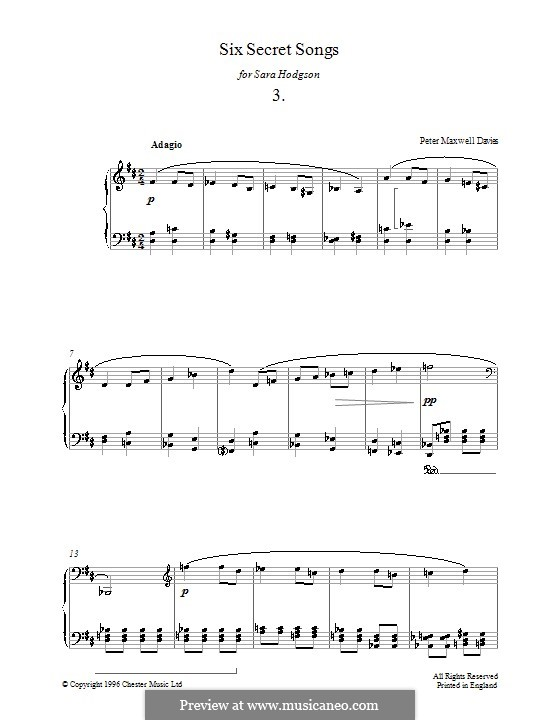 Six Secret Songs for Piano: No.3 by Peter Maxwell Davies