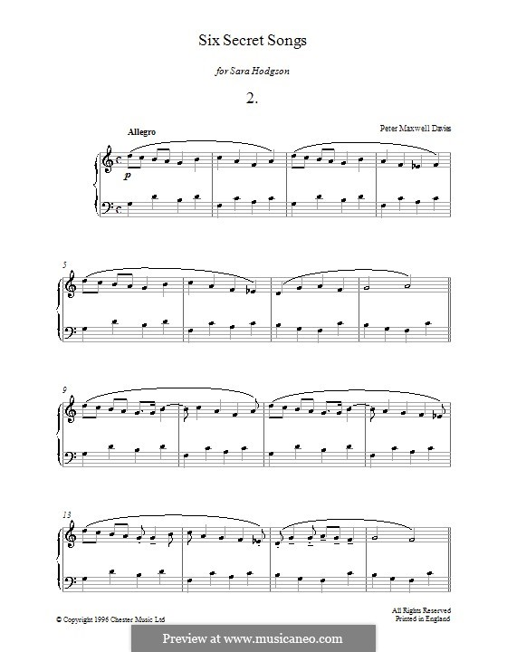 Six Secret Songs for Piano: No.2 by Peter Maxwell Davies