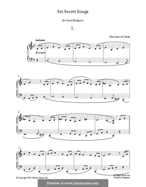 Six Secret Songs for Piano: No.1 by Peter Maxwell Davies