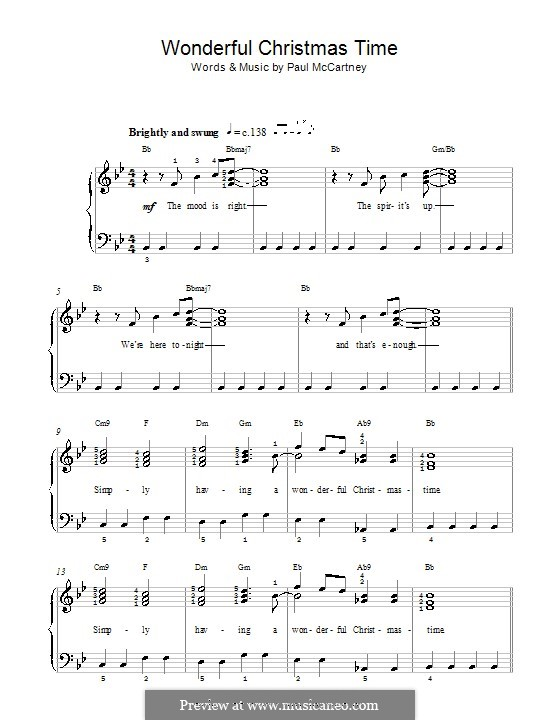 Wonderful Christmastime: Для фортепиано (легкий уровень, с аккордами) by Paul McCartney