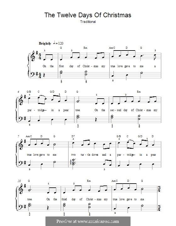 The Twelve Days of Christmas: Для фортепиано (легкий уровень, с аппликатурой) by folklore