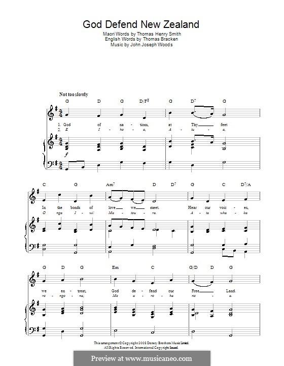 God Defend New Zealand (New Zealand National Anthem): Для голоса и фортепиано (или гитары) by John Joseph Woods