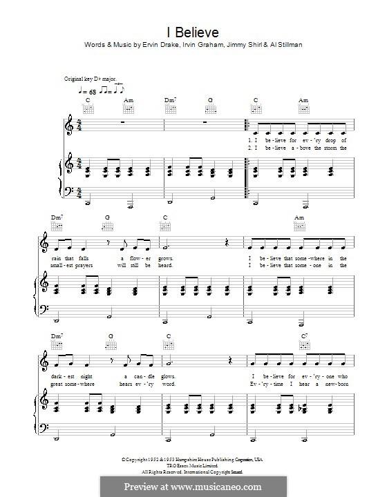 I Believe (Frankie Laine): Для голоса и фортепиано (или гитары) by Ervin Drake, Irvin Graham, Jimmy Shirl