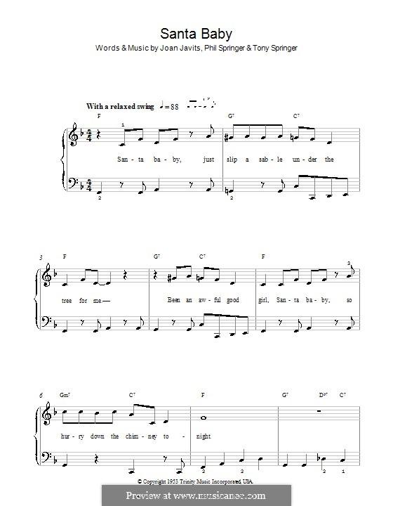 Santa Baby (Eartha Kitt): Для фортепиано (легкий уровень) by Joan Javits, Philip Springer, Tony Springer