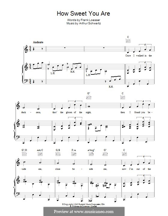 How Sweet You Are: Для голоса и фортепиано (или гитары) by Arthur Schwartz, Frank Loesser