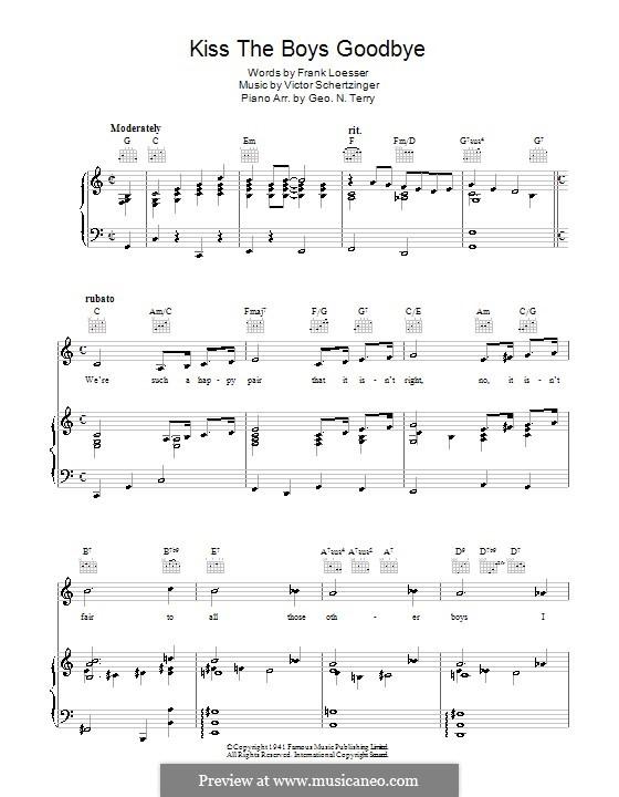 Kiss the Boys Goodbye: Для голоса и фортепиано (или гитары) by Victor Schertzinger