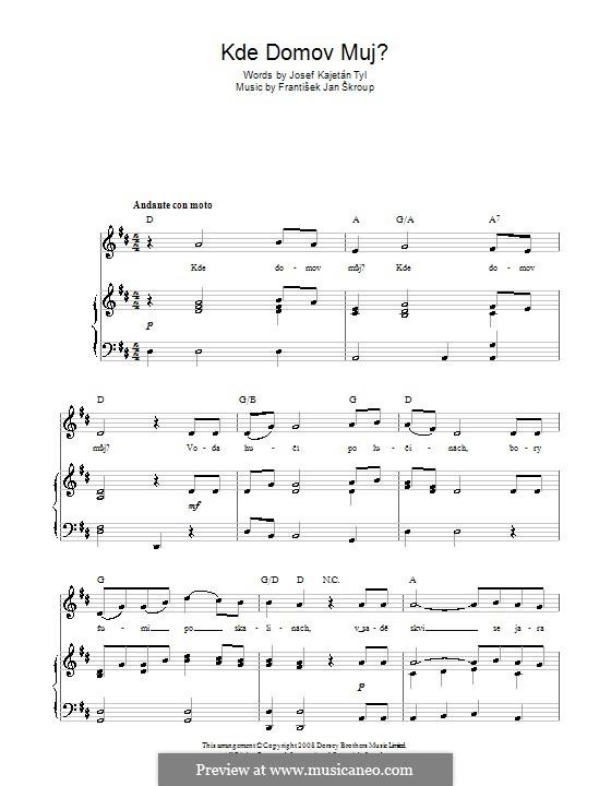 Kde Domov Muj? (Czech Republic National Anthem): Для голоса и фортепиано (или гитары) by František Škroup