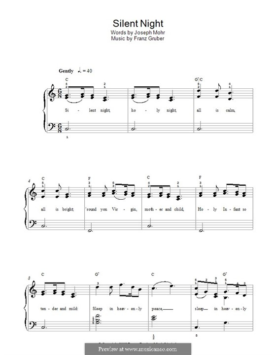 Тихая ночь, для фортепиано: Легкая версия для фортепиано by Франц Ксавьер Грубер