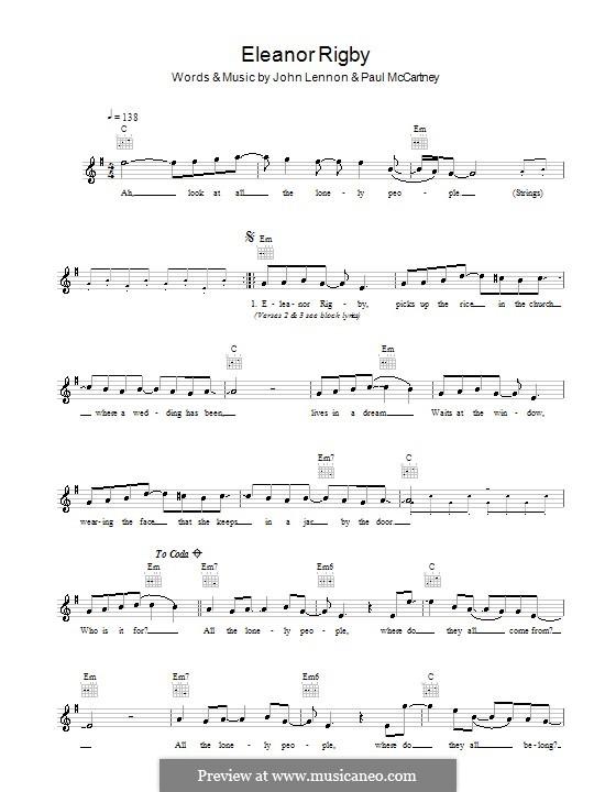 Eleanor Rigby (The Beatles): Мелодия, текст и аккорды by John Lennon, Paul McCartney