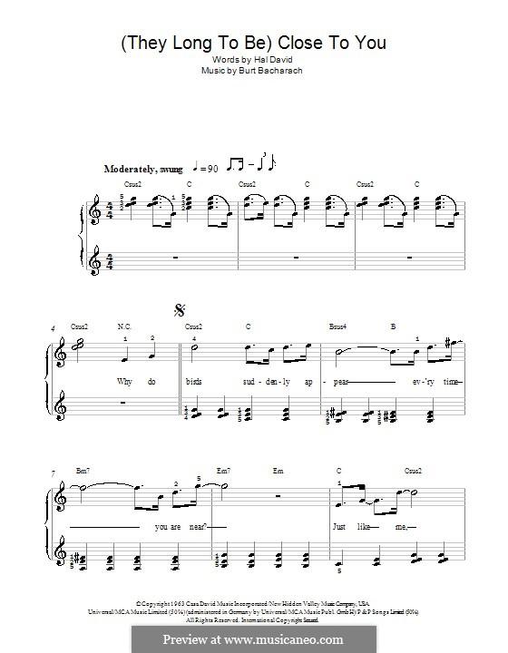 Close to You (They Long to be): Для фортепиано (легкий уровень) (Carpenters) by Burt Bacharach