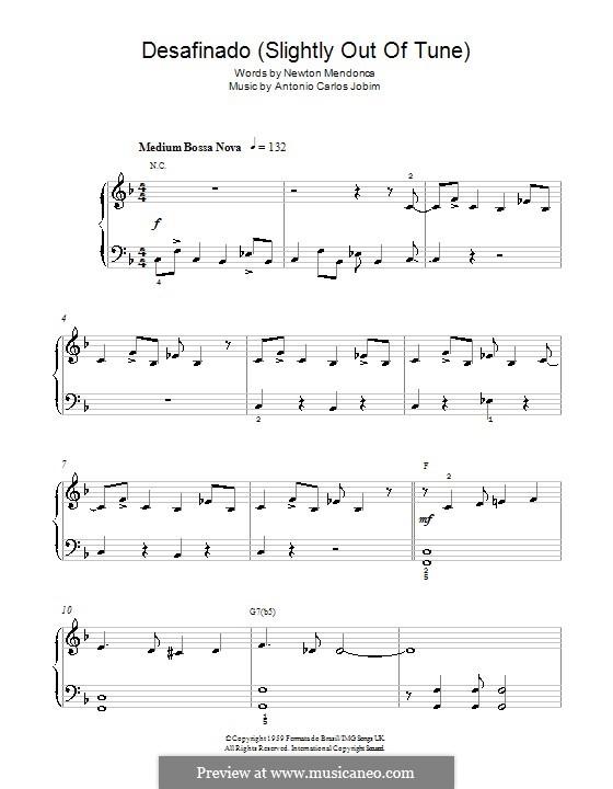 Desafinado (Slightly Out of Tune): Для фортепиано (легкий уровень, с аккордами) by Antonio Carlos Jobim