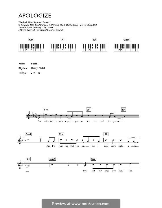 Apologize (OneRepublic): Для клавишного инструмента by Ryan B Tedder