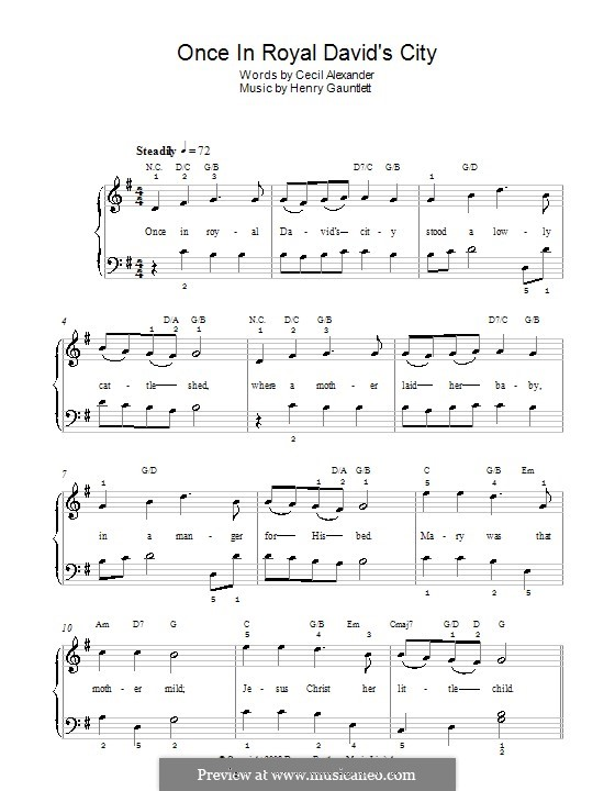 Once in Royal David's City: For easy piano (G Major) by Henry John Gauntlett