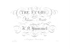 Три фуги в стиле Генделя, Op.7: Три фуги в стиле Генделя by Иоганн Непомук Гуммель