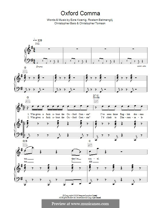 Oxford Comma (Vampire Weekend): Для голоса и фортепиано (или гитары) by Chris Baio, Christopher Tomson, Ezra Koenig, Rostam Batmanglij