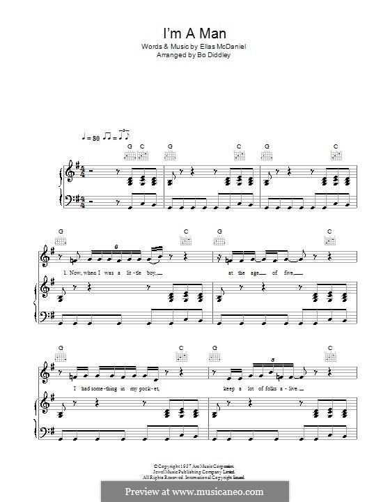 I'm a Man (The Yardbirds): Для голоса и фортепиано (или гитары) by Ellas McDaniel
