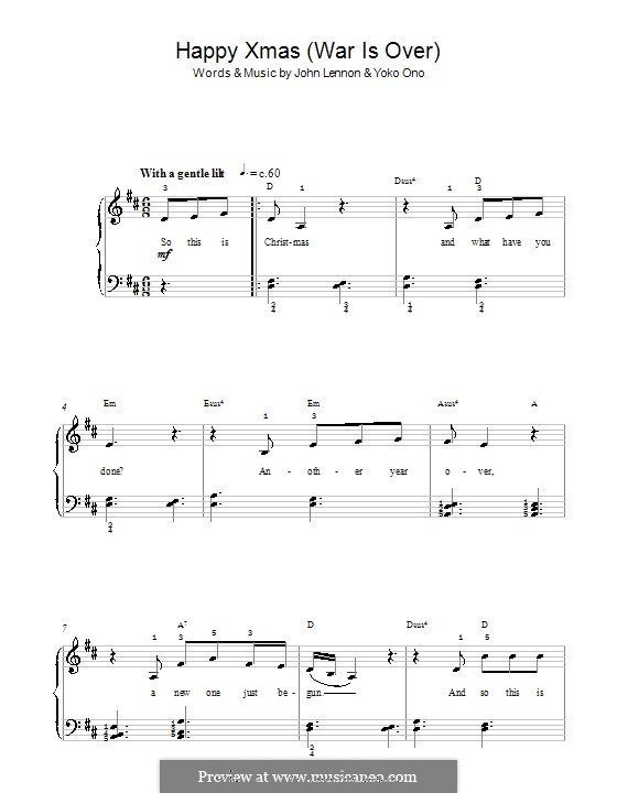 Happy Xmas (War Is Over): Для фортепиано (легкий уровень) by John Lennon, Yoko Ono