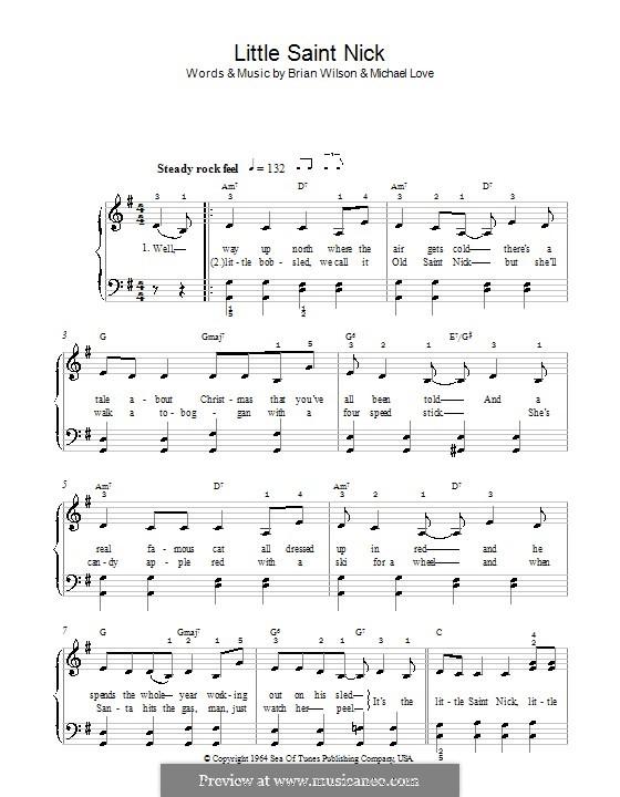 Little Saint Nick (The Beach Boys): Для фортепиано (легкий уровень) by Brian Wilson, Mike Love