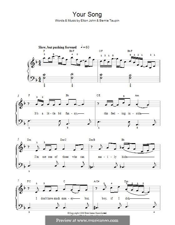 Your Song: Для фортепиано (легкий уровень, фа мажор) by Elton John
