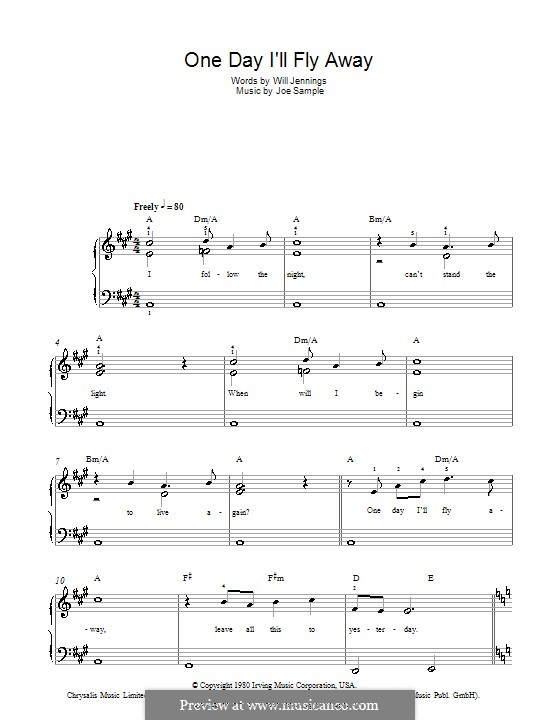 One Day I'll Fly Away (Randy Crawford): Для фортепиано (легкий уровень) by Joe Sample