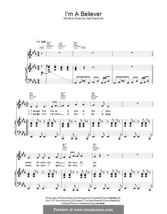 I'm a Believer: Для голоса и фортепиано или гитары (ми бемоль мажор) by Neil Diamond