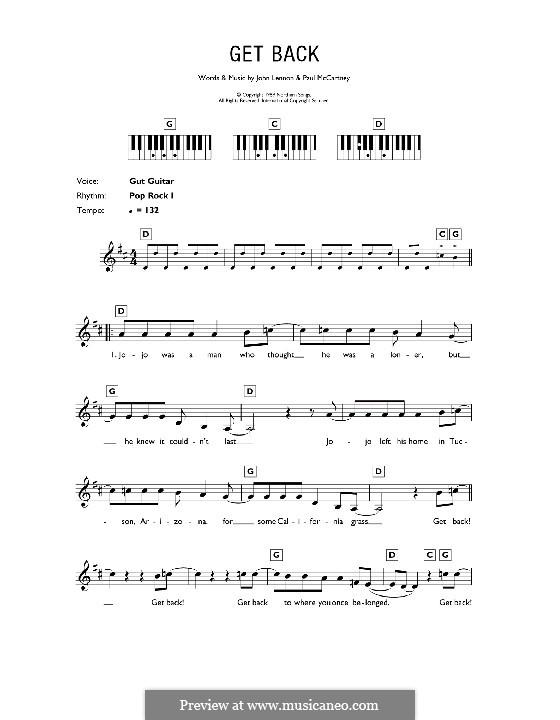 Get Back (The Beatles): Для клавишного инструмента by John Lennon, Paul McCartney
