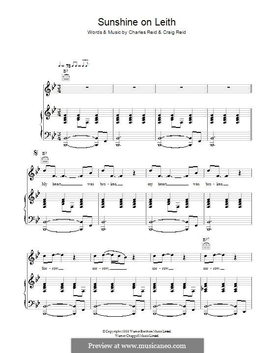 Sunshine on Leith (The Proclaimers): Для голоса и фортепиано (или гитары) by Charles Reid, Craig Reid