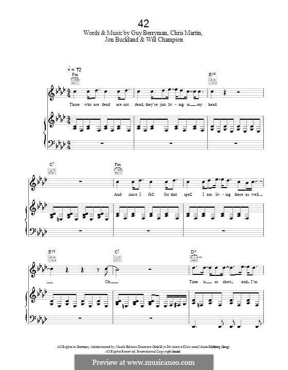 42 (Coldplay): Для голоса и фортепиано (или гитары) by Chris Martin, Guy Berryman, Jonny Buckland, Will Champion