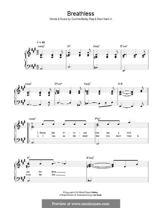 Breathless (Corinne Bailey Rae): Для начинающего пианиста by Marc Nelkin