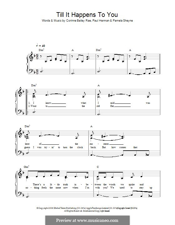 Till It Happens To You (Corinne Bailey Rae): Для фортепиано (легкий уровень) by Pamela Sheyne, Paul Herman