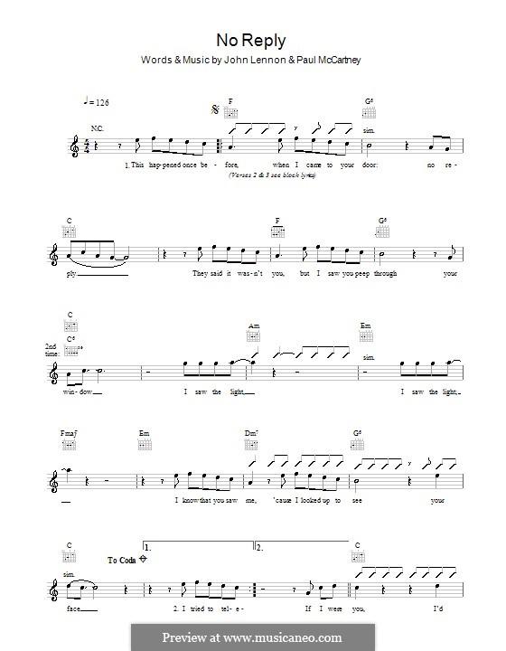 No Reply (The Beatles): Мелодия, текст и аккорды by John Lennon, Paul McCartney